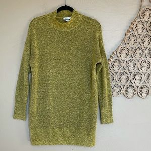 Monki Mustard Marled Mock Neck Sweater, XXS